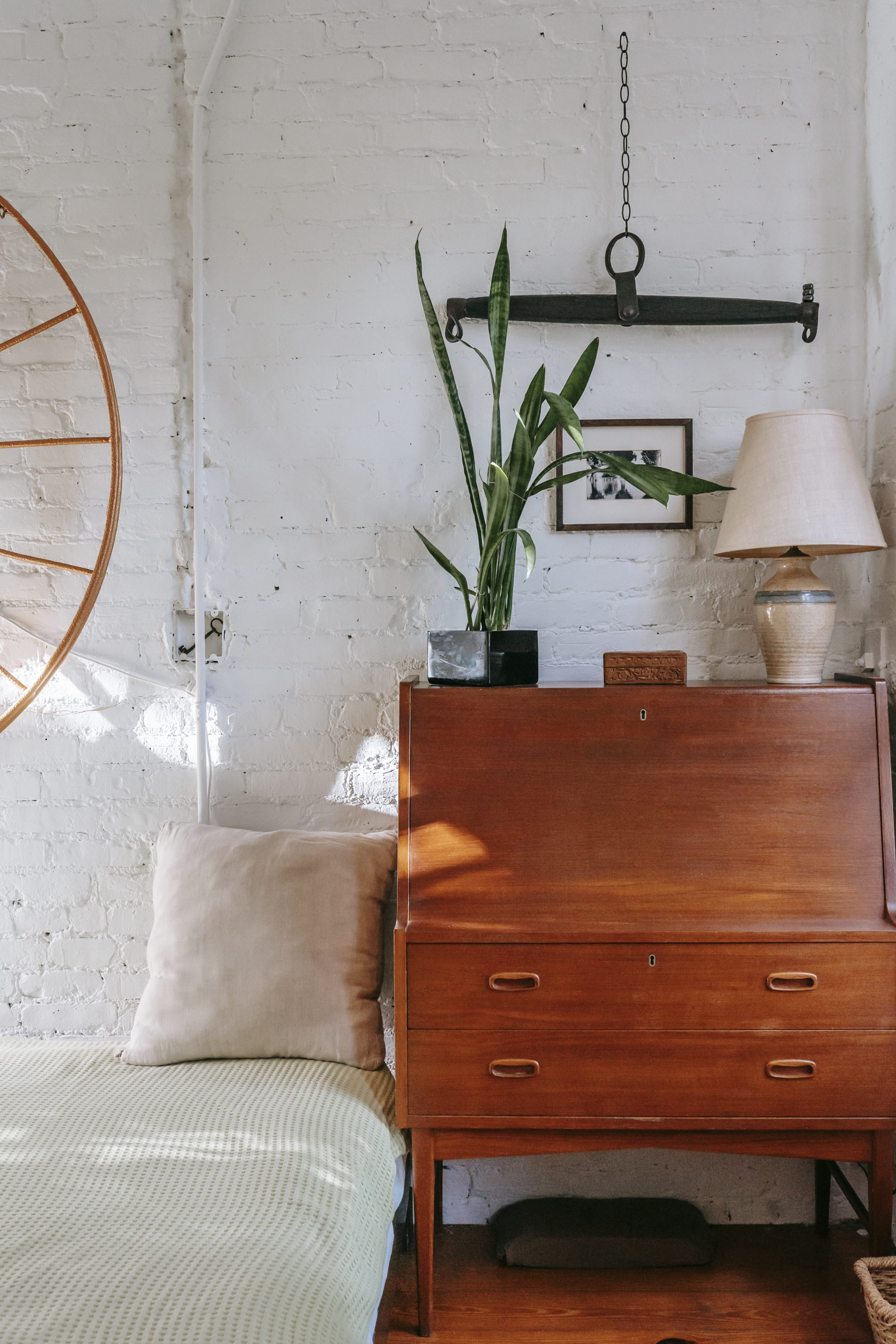 Retro cabinet with potted plant near comfy bed