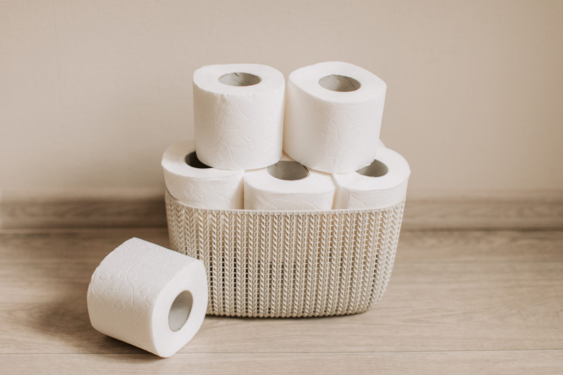 Toilet paper rolls on basket