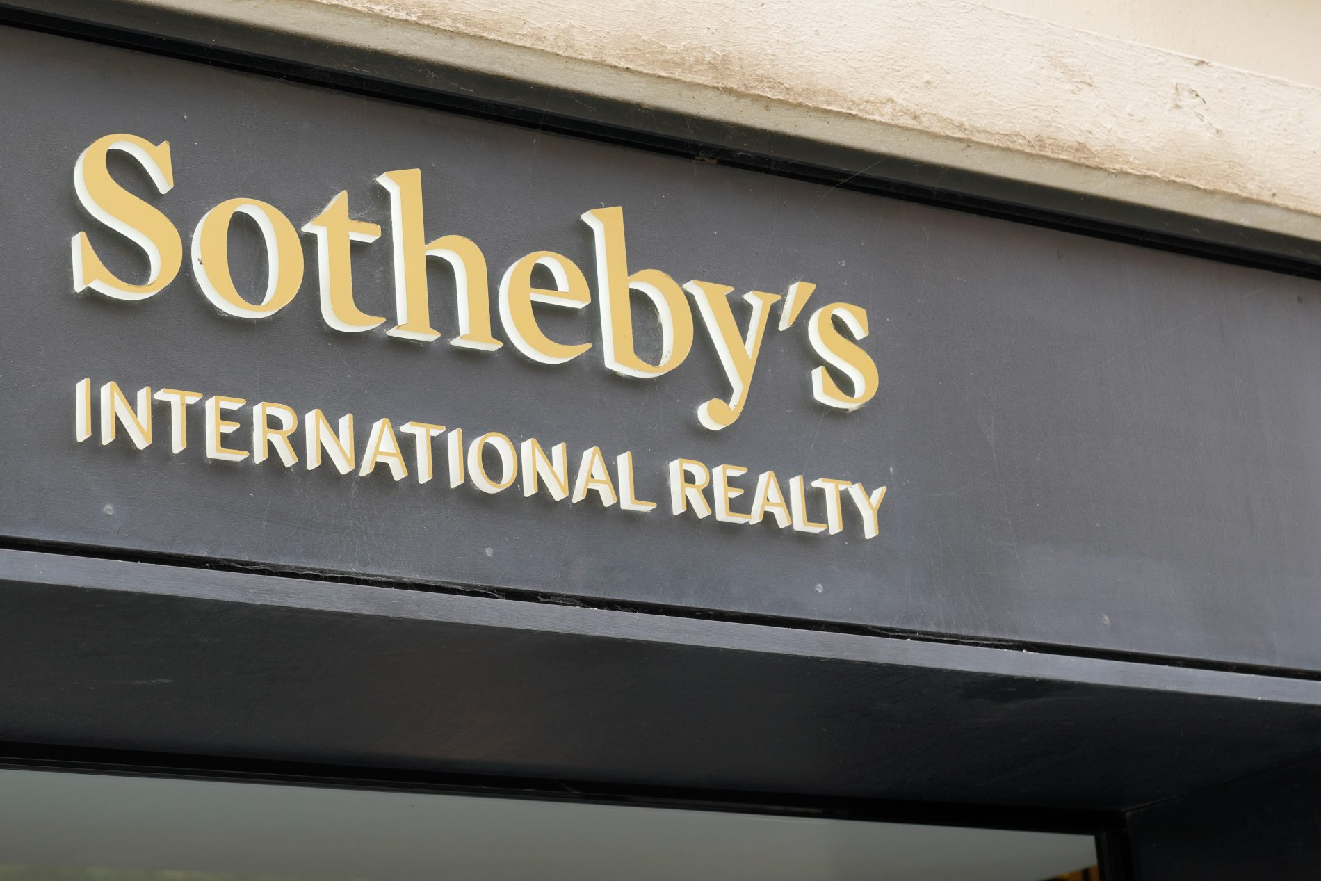 Biarritz , Aquitaine / France - 09 25 2020 : Sotheby logo and sign luxury brokers specialized in realty and auctions real estate text
