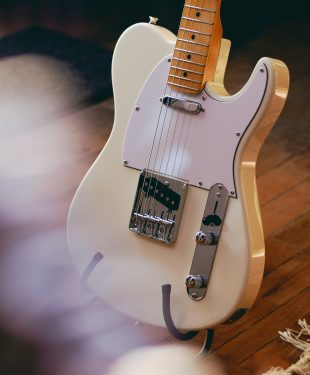 White stratocaster guitar