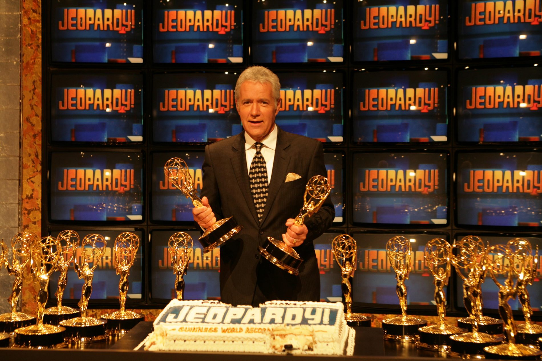 Alex Trebek at the ceremony entering Jeopardy in to the Guinness World Records for being the game show with the most Emmy Awards. Sony Studios, Culver City, CA. 11-01-05