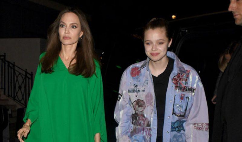Shiloh Jolie-Pitt Rocks A Jean Jacket While Sister Zahara Wears A Yellow Dress Out With Mom Angelina