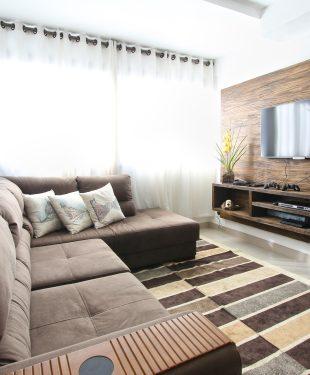 Brown fabric sectional sofa